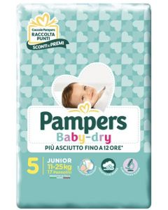 PANNOLINI PER BAMBINI PAMPERS BABY DRY DOWNCOUNT NO FLASH JUNIOR 17 PEZZI